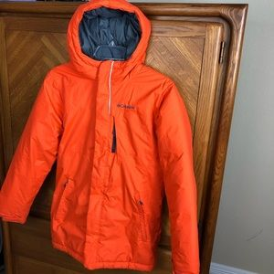 Columbia Orange Grey Puffer Hooded Coat Jacket L